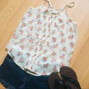 Aerie Sheer Floral Tank XS